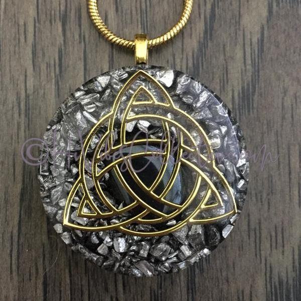 Celtic Knot Circular Orgone Pendant with Hematite and Aluminum Shavings (C-0031)-HiVibes Collective