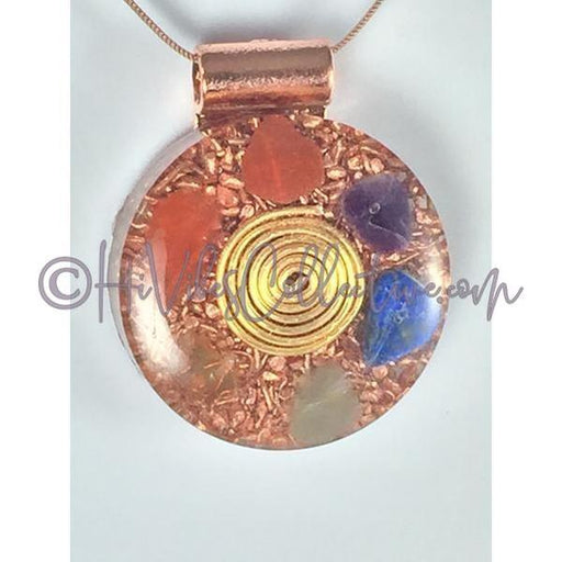 Center Spiral Multi-Crystal Circular Orgone Pendant (C-0001)-HiVibes Collective