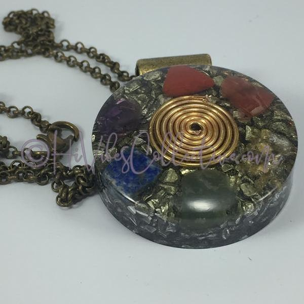 Center Spiral Multi-Crystal Circular Orgone Pendant w/Tinted Resin (C-0002)-HiVibes Collective