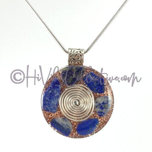 Center Spiral Orgone Circular Pendant with Lapis Lazuli and Copper Shavings (C-0004)-HiVibes Collective