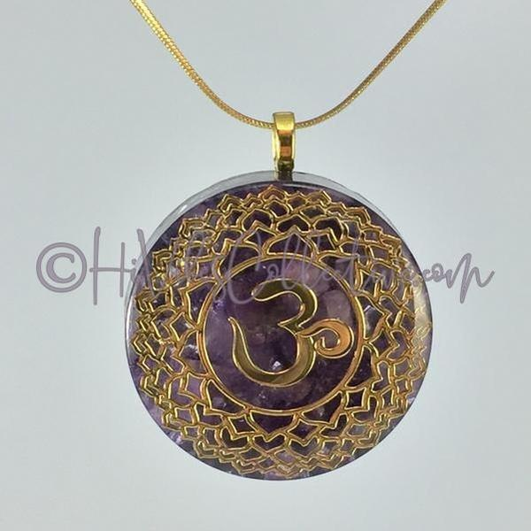 Crown Chakra Circular Orgone Pendant with Amethyst and Aluminum, Copper or Pink Brass Shavings (C-0012) - HiVibes Collective