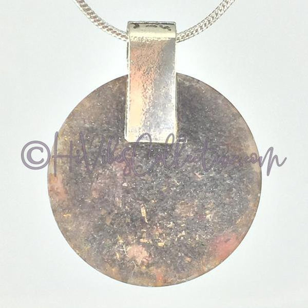 Crown Chakra Circular Orgone Pendant with Carnelian and Brass Shavings (C-0011)-HiVibes Collective