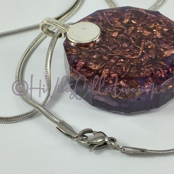 Crown Chakra Dodecagon Orgone Pendant with Amethyst and Copper Shavings (D-0011)-HiVibes Collective