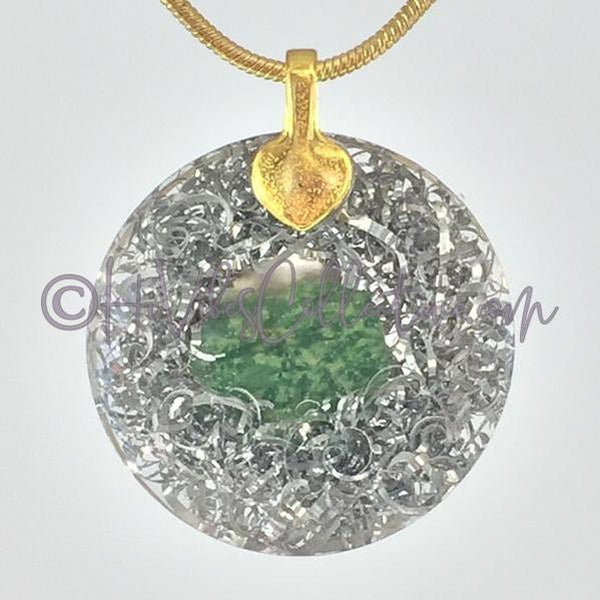Flower of Life Alternative Design Circular Orgone Pendant with Green Quartz and Aluminum Shavings (C-0025)-HiVibes Collective