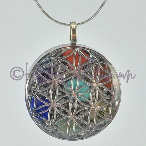 Flower of Life Circular Orgone Pendant with 7 Chakra Stones and Aluminum Shavings (C-0021)-HiVibes Collective
