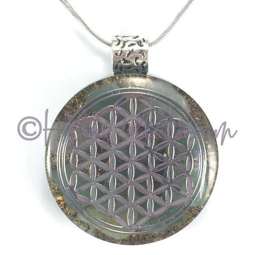 Flower of Life Circular Orgone Pendant with Green Aventurine and Brass Shavings (C-0003)-HiVibes Collective