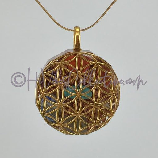 Flower of Life Dodecagon Orgone Pendant with 7 Chakra Stones and Copper Shavings (D-0014)-HiVibes Collective