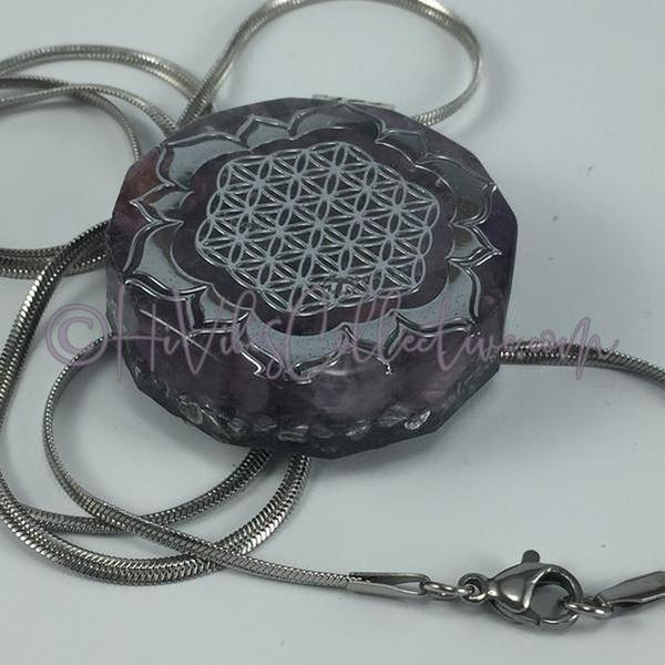 Flower of Life Dodecagon Orgone Pendant with Amethyst and Aluminum Shavings (D-0004)-HiVibes Collective