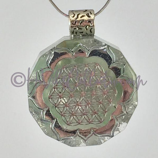 Flower of Life Dodecagon Orgone Pendant with Green Aventurine and Silver Foil (D-0019)-HiVibes Collective