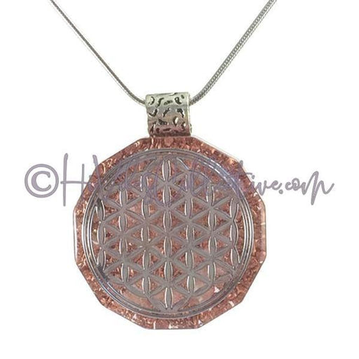Flower of Life Dodecagon Orgone Pendant with Rose Quartz and Copper Shavings (D-0001)-HiVibes Collective