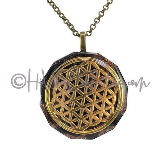 Flower of Life Dodecagon Orgone Pendant with Tiger's Eye and Copper Shavings (D-0002)-HiVibes Collective