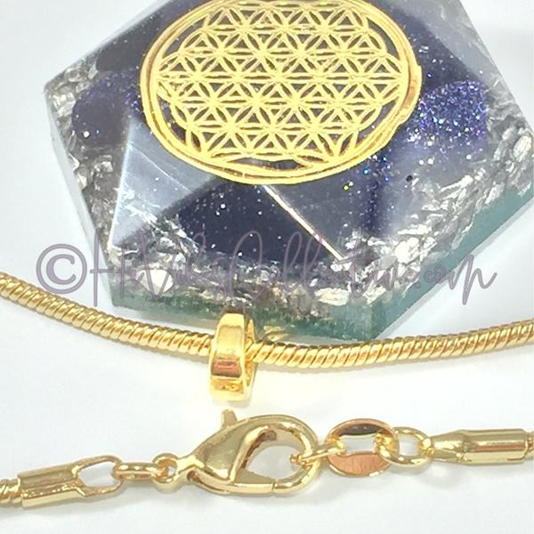 Flower of Life Hexagon Orgone Pendant with Blue Goldstone and Aluminum Shavings (H-0007)-HiVibes Collective
