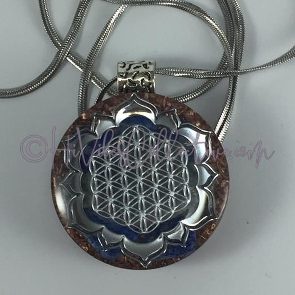 Flower of Life & Lotus Circular Orgone Pendant with Lapis Lazuli and Copper Shavings (C-0005)-HiVibes Collective