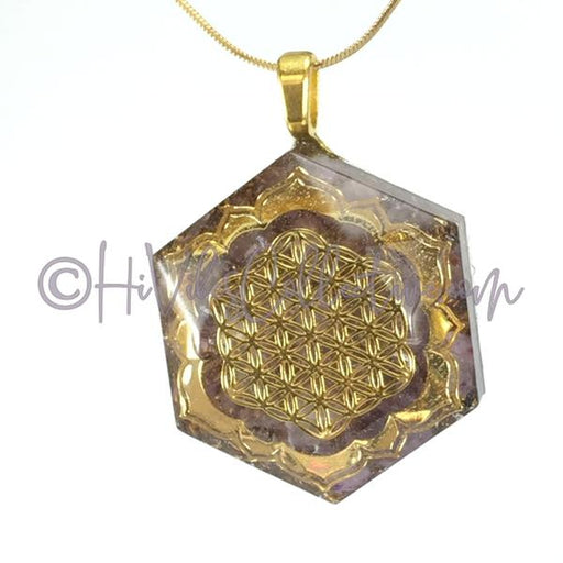 Flower of Life & Lotus Hexagon Orgone Pendant with Amethyst and Brass Shavings (H-0001)-HiVibes Collective
