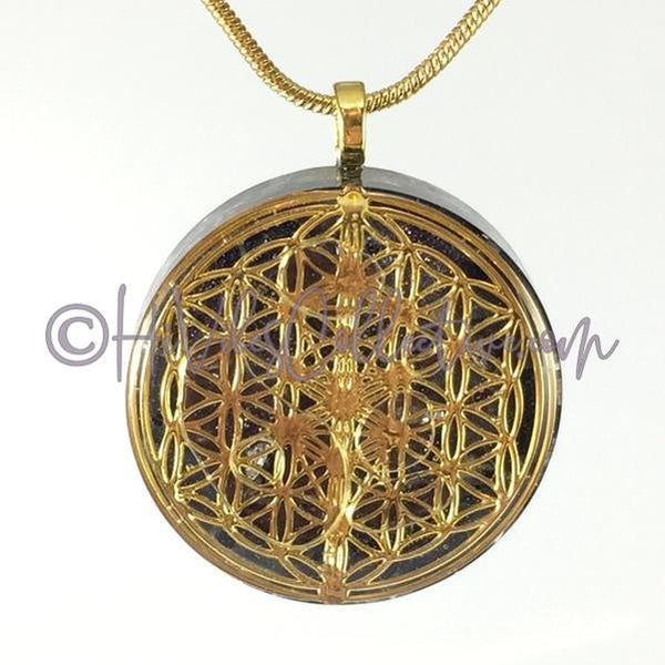 Flower of Life/Tree of Life Circular Orgone Pendant with Blue Goldstone and Aluminum Shavings (C-0030)-HiVibes Collective