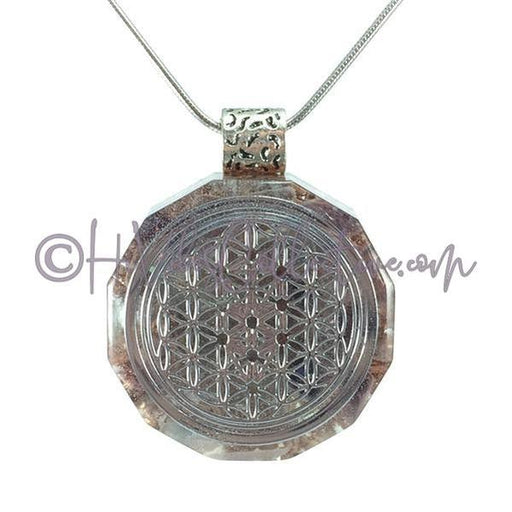 Flower of Life/Tree of Life Dodecagon Orgone Pendant with Fluorite and Copper Shavings (D-0003)-HiVibes Collective