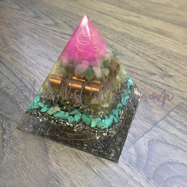Green Aventurine, Citrine & Turquoise Howlite Orgone Pyramid w/Antique Copper-Wrapped Crystal Quartz (PY-003)-HiVibes Collective