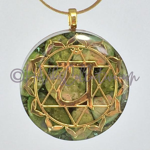 Heart Chakra Circular Orgone Pendant with Unakite and Copper Shavings (C-0017)-HiVibes Collective