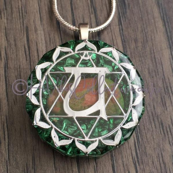 Heart Chakra Dodecagon Orgone Pendant with Unakite and Aluminum Shavings (D-0016)-HiVibes Collective
