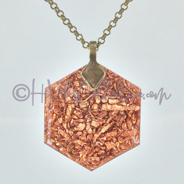 Heaven Hexagon Orgone Pendant with Rose Quartz and Copper Shavings (H-0006)-HiVibes Collective