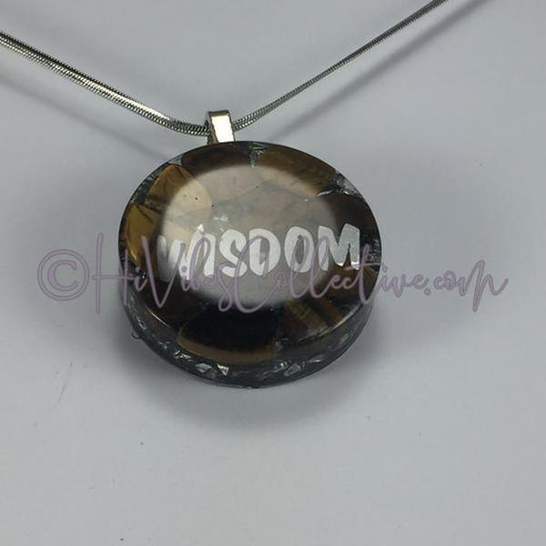 "High Vibration Word ""Wisdom"" Circular Orgone Pendant with Tiger's Eye and Aluminum Shavings (C-0010)-HiVibes Collective"