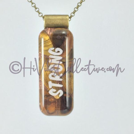 High Vibrational Word Rectangular Orgone Pendant with Tiger's Eye and Copper Shavings (R-0004)-HiVibes Collective