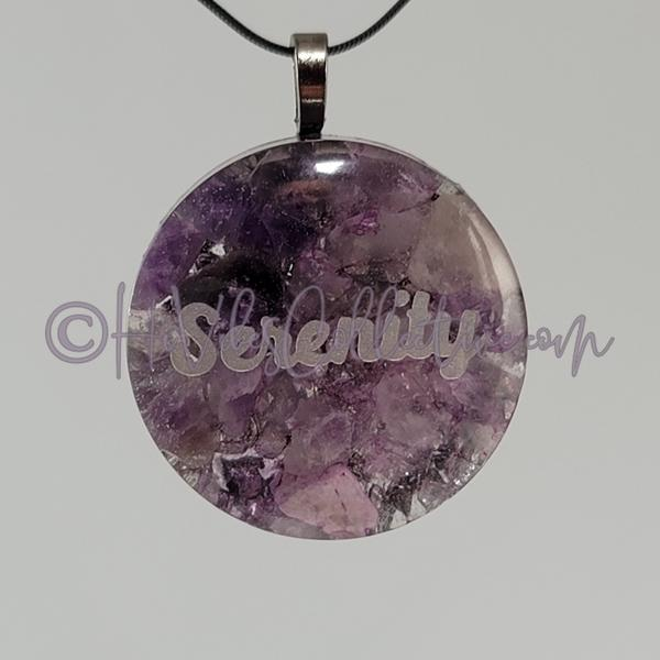 High Vibrational Words Circular Orgone Pendant with Amethyst and Aluminum (C-0046)-HiVibes Collective