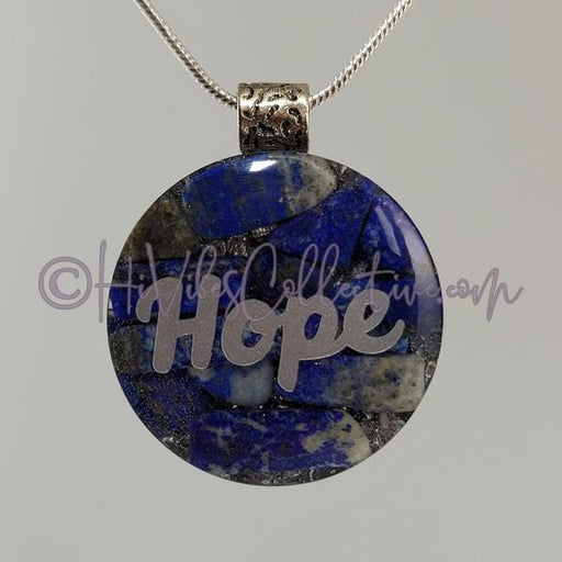 High Vibrational Words Circular Orgone Pendant with Lapis Lazuli and Aluminum (C-0045)-HiVibes Collective