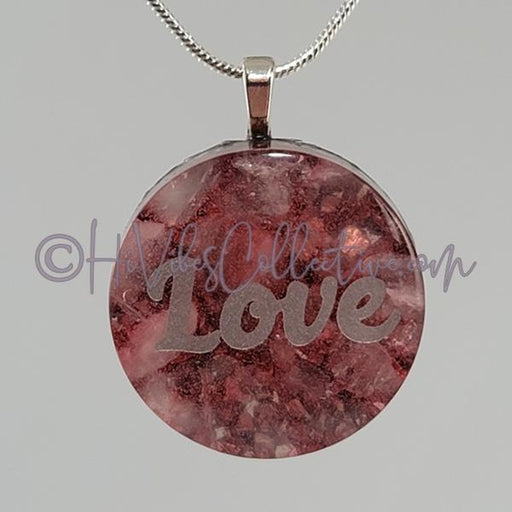 High Vibrational Words Circular Orgone Pendant with Rose Quartz and Aluminum (C-0044)-HiVibes Collective