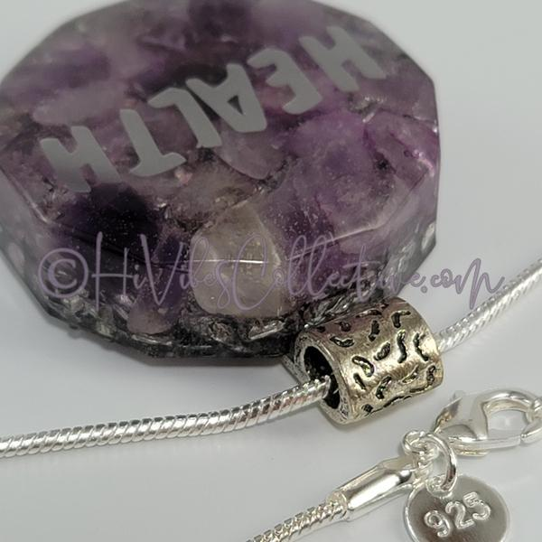 High Vibrational Words Dodecagon Orgone Pendant with Amethyst and Aluminum Shavings (D-0027)-HiVibes Collective