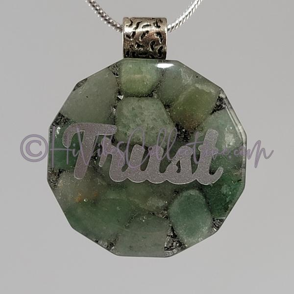High Vibrational Words Dodecagon Orgone Pendant with Green Aventurine and Aluminum Shavings (D-0029)-HiVibes Collective