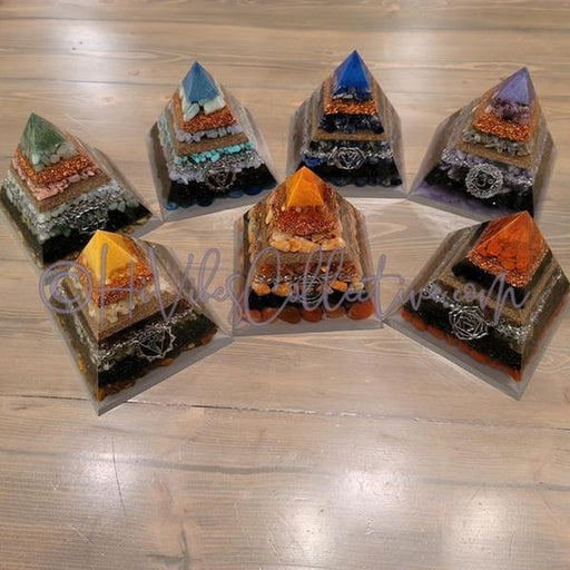 Large 7 Chakra Orgone Pyramid (Set of 7) (PY-17-22-Set)-HiVibes Collective