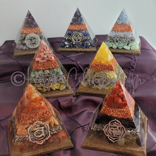 Medium 7 Chakra Orgone Pyramid (Set of 7) (PY-26-32-Set)-HiVibes Collective