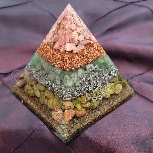 Medium Heart Chakra Orgone Pyramid (PY-0029)-HiVibes Collective