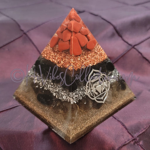Medium Root Chakra Orgone Pyramid (PY-0032)-HiVibes Collective