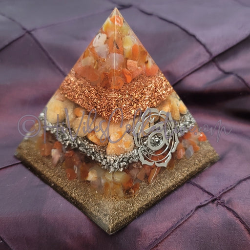 Medium Sacral Chakra Orgone Pyramid (PY-0031)-HiVibes Collective