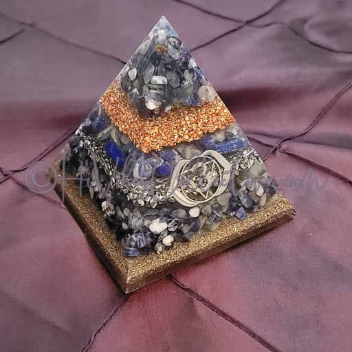 Medium Third Eye Chakra Orgone Pyramid (PY-0027)-HiVibes Collective