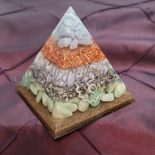 Medium Throat Chakra Orgone Pyramid (PY-0028)-HiVibes Collective