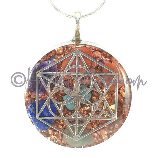 Merkaba Circular Orgone Pendant with 7 Chakra Stones and Copper Shavings (C-0023)-HiVibes Collective