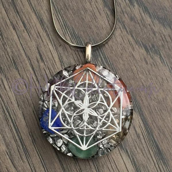 Merkaba Circular Orgone Pendant with Chakra Stones and Aluminum Shavings (C-0015)-HiVibes Collective