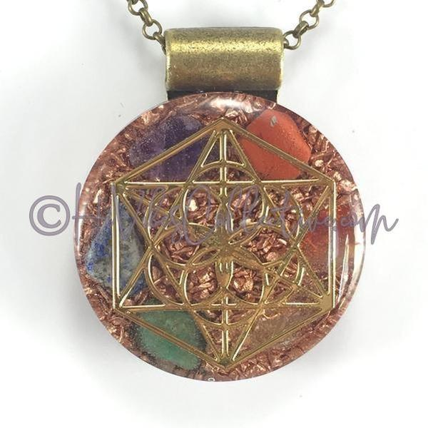 Merkaba Circular Orgone Pendant with Rainbow Stones and Copper Shavings (C-0007)-HiVibes Collective