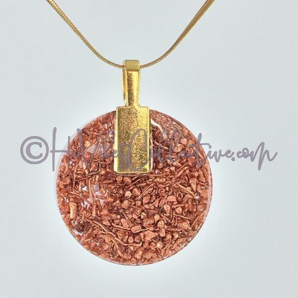 Merkaba Circular Orgone Pendant with Rose Quartz and Copper Shavings (C-0006)-HiVibes Collective