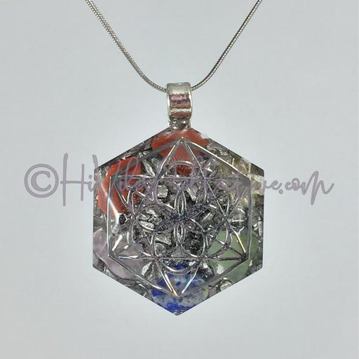 Merkaba Hexagon Orgone Pendant with Chakra Stones and Aluminum Shavings (H-0002)-HiVibes Collective
