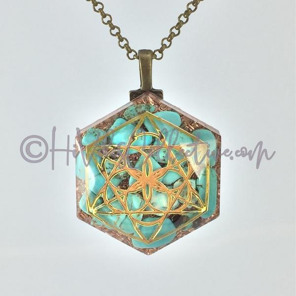 Merkaba Hexagon Orgone Pendant with Turquoise Howlite and Copper Shavings (H-0004)-HiVibes Collective