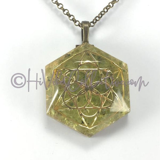Merkaba Hexagonal Pendant with Peridot and Gold Flake (H-0003)-HiVibes Collective