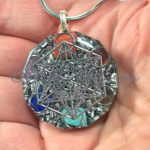 Metatron's Cube Dodecagon Orgone Pendant with Chakra Stones and Aluminum Shavings (D-0020)-HiVibes Collective