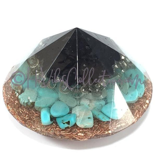 Orgone Diamond Shape with Black Tourmaline, Turquoise Howlite and Copper (O-0001)-HiVibes Collective
