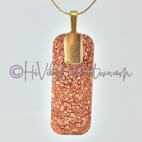 Rectangular Orgone Flower of Life/Tree of Life Pendant with Chakra Stones and Copper Shavings (R-0012)-HiVibes Collective