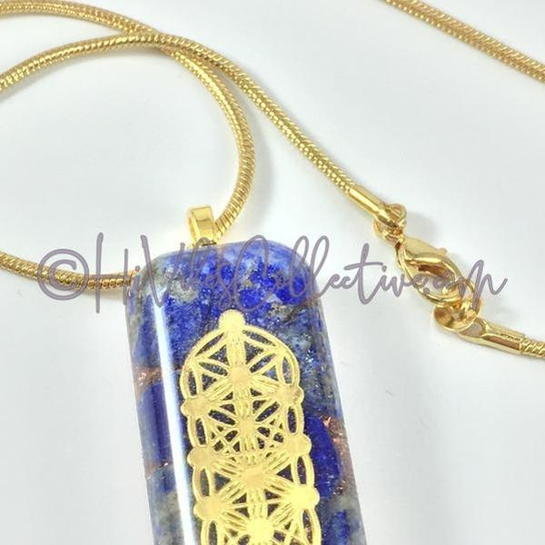 Rectangular Orgone Flower of Life/Tree of Life Pendant with Lapis Lazuli and Copper Shavings (R-0009)-HiVibes Collective