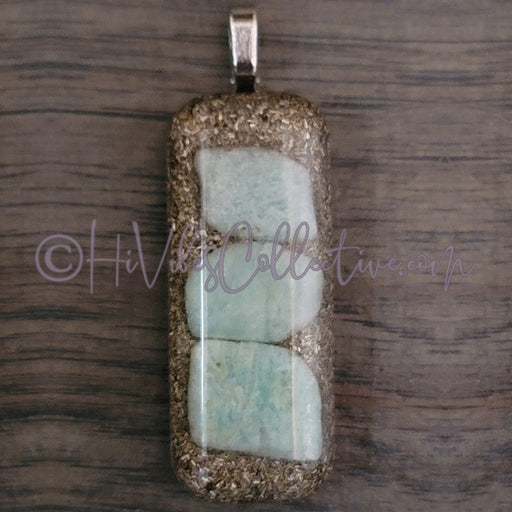 Rectangular Orgone Pendant with Amazonite and Pink Brass Shavings (R-00017)-HiVibes Collective